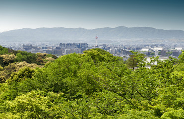 Kyoto City and Kyoto Tower with mountain ranges seen in background