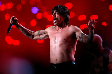 Anthony Kiedis of The Red Hot Chili Peppers performs during the halftime show of the NFL Super Bowl XLVIII football game between the Denver Broncos and the Seattle Seahawks in East Rutherford