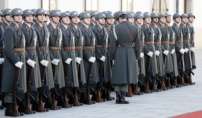 Austria's honour guard prepares in the inner yard of Hofburg Palace to welcome Myanmar's President Thein in Vienna