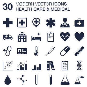 Set of 30 quality icons about health care and medical