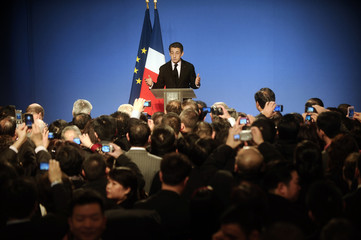France's President Sarkozy delivers a speech as part of a ceremony with a Chinese delegation at the Elysee  Palace in Paris