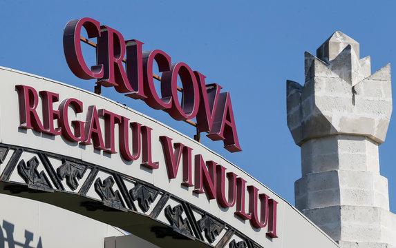 A logo of Cricova wine-making is seen outside Chisinau
