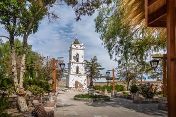 Bell Tower of the Church (Campanario de San Lucas) at Toconao Village Main Square - Toconao, Atacama Desert, Chile.