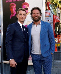 "Cast members Cooper and Teller pose at the premiere for the movie ""War Dogs"" at the TCL Chinese theatre in Hollywood"