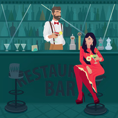 Young and cheerful girl in red with her hair loose sits at bar counter and holds out glass of cocktail. Fashionable bartender offers another cocktail. Party concept