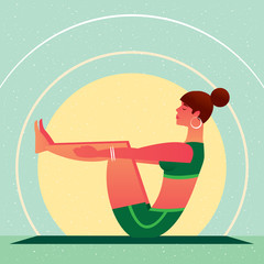 Sporty girl sitting in the Boat Pose or Navasana, against the background of the sun, in flat cartoon style. Yoga or Pilates concept. Side view