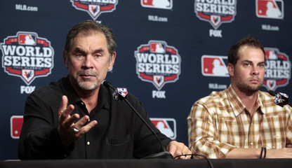 San Francisco Giants manager Bochy and Giants pitcher Vogelsong talk with the media during a news conference in Detroit, Michigan