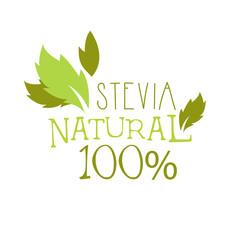 Natural stevia logo symbol. Healthy product label vector Illustration