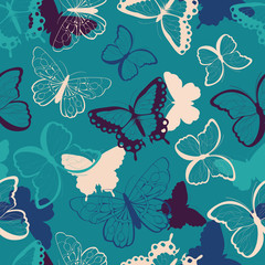Seamless vector pattern with hand drawn colorful butterflies, silhouette vibrant