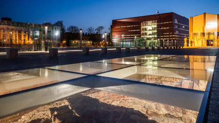 Wroclaw, Poland, 9 April 2017 - National Forum of Music (Narodowe Forum Muzyki)(NFM) on the Freedom Square, Wroclaw, Poland, Europe. Nightshot.