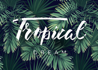 Summer tropical vector design for banner or flyer with dark green palm leaves and lettering.