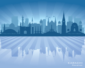 Karachi Pakistan city skyline vector silhouette