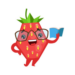 Funny strawberry in eyeglasses reading book. Cute cartoon emoji character vector Illustration