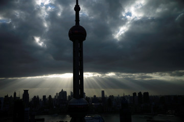 The Oriental Pearl Tower is seen at the financial district of Pudong in Shanghai