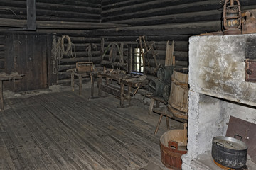 Old log cabin interior