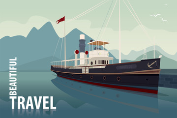 Scenic area with old cruise boat at the pier in clear day. In the background the natural mountain landscape view. Realistic flat style. Lettering Beautiful Travel