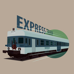 Isolate round icon with old train in retro colors rushes forward in realistic flat style. Express Train concept