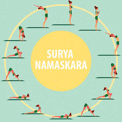 Set of images of sports girl in different yoga poses, performing complex of exercises, known as Greeting to the Sun or Surya Namaskara. Flat style