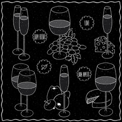 Set clip art of still life hand drawn with chalk on black board. Glasses different types of wine and champagne next to fruit and cheeses. Labels with lettering