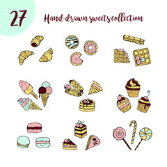 Vector doodle icon set with sweets.
