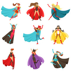 Female Superheroes In Classic Comics Costumes With Capes Set Of Smiling Flat Cartoon Characters With Super Powers