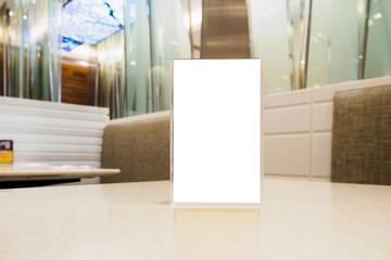 Blank Menu frame on Table in cafe restaurant