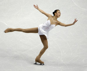 Kwak Min-Jeong of South Korea performs in the ladies short program during the Skate America figure skating competition in Portland
