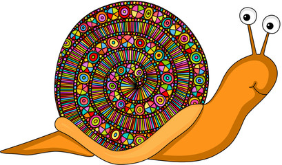 Colored zentangle snail