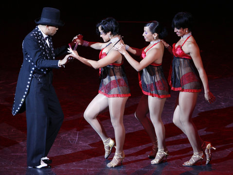 """Colombian dance group """"Swing Latino"""", five-time World Salsa champions, presented their show in Bogota"""