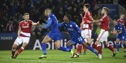 Leicester City's Islam Slimani celebrates scoring their second goal