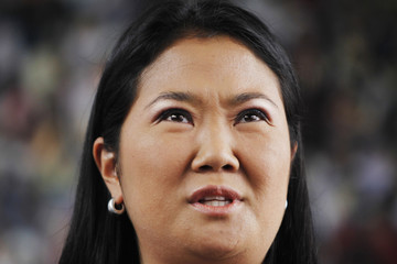 Peru's presidential candidate Keiko Fujimori announces her defeat in the Peruvian elections to the media in Lima