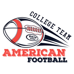 Vector logo american football college team for design, print and internet on white background