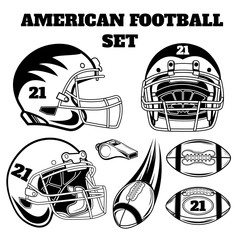 Vector black and white set of american football design elements for logos, badges, design, web pages.