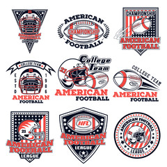 Set of vector logos on an American football theme for design, print and internet isolated on white background