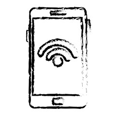 smartphone with wifi signal device isolated icon vector illustration design