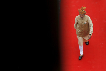 File photo of Indian Prime Minister Modi arriving to address the nation from the historic Red Fort during Independence Day celebrations in Delhi