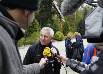 Head coach Bert van Marwijk of the Netherlands' soccer team speaks to the media after their first training session in Hoenderloo