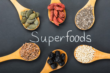 Superfoods Text With Ingredients In A Wooden Spoon