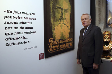 French Prime Minister Ayrault visits an exhibition on Jean Jaures in Paris