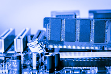 Close up of Electronic Ram(random access memory) on Mainboard computer
