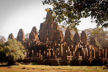 Cambodia Famous Landmark. World Largest Religious Monument, Prasat Angkor Nokor Wat Temple Complex, Siem Reap. Ancient Khmer Architecture. Tourist Attraction, Travel Destination In Asia. Heritage