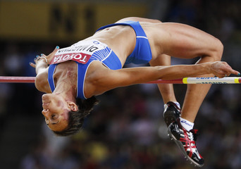 Antonietta Di Martino of Italy competes in the women's high jump final at the IAAF World Athletics Championships in Daegu