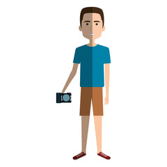 Young man in beach suit with camera photographic vector illustration design