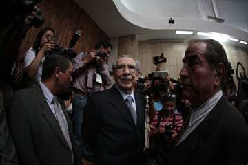 Former Guatemalan dictator Rios Montt arrives at the Supreme Court of Justice in Guatemala City