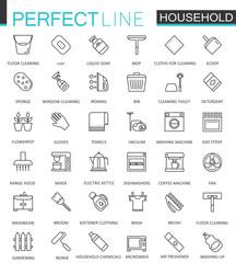 Household appliances thin line web icons set. Outline stroke icon design.