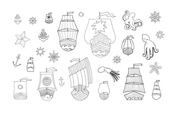 Vector Boat, Rook and Sea Hand-drawn Doodles on White Background With Octopus and Anchors