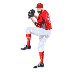 Baseball player pitcher in red jersey, grungy vector illustration