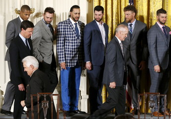 Morse wears a plaid blazer and bright blue pants during a reception for the San Francisco Giants in the East Room of the White House in Washington