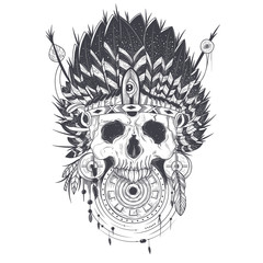Vector illustration of a template for a tattoo with a human skull in an indian feather hat. Design element, print for T-shirts