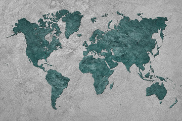 Deurstickers Wereldkaart Grunge Map of the World. Vintage style.